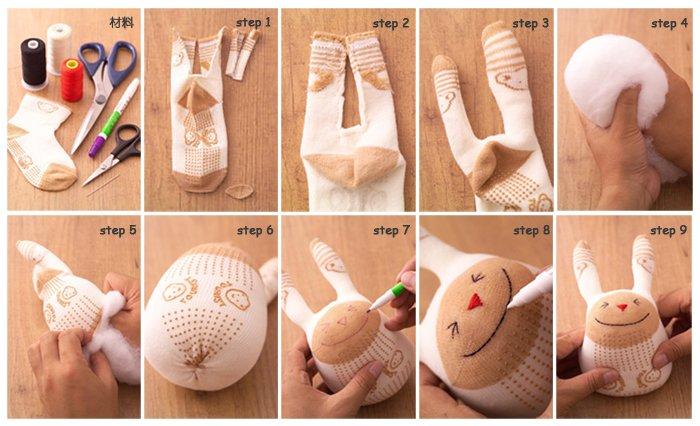 9步骤完成可爱的袜子娃娃